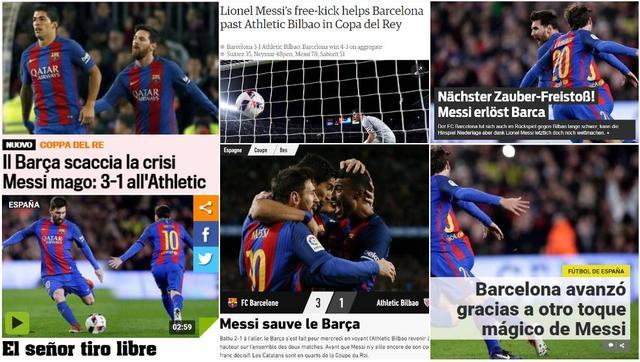 全球媒体膜拜梅西:神奇魔术师!他救了巴萨