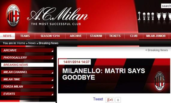 米兰宣布马特里离队 18战1球前锋租借紫百合