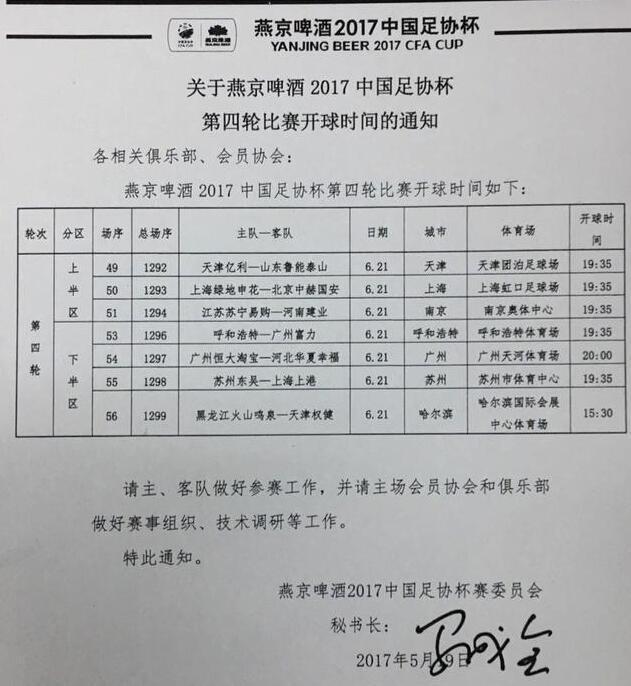 足协杯第4轮6月21日打响 京沪对决恒大PK河北