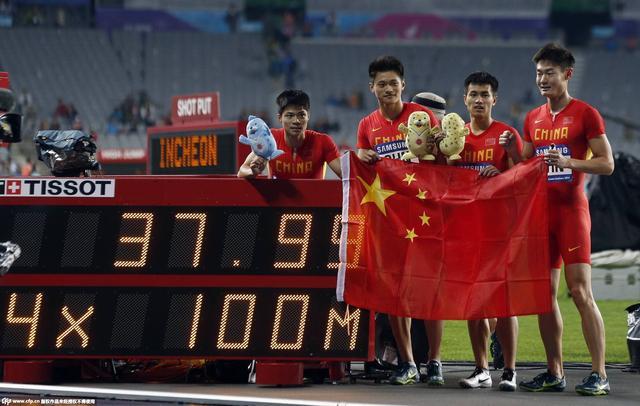 37秒99!男子4x100中国破纪录夺冠 奥运可夺牌