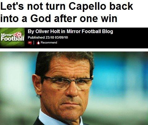 每日镜报:仅仅一场大胜 勿将卡佩罗奉若神明