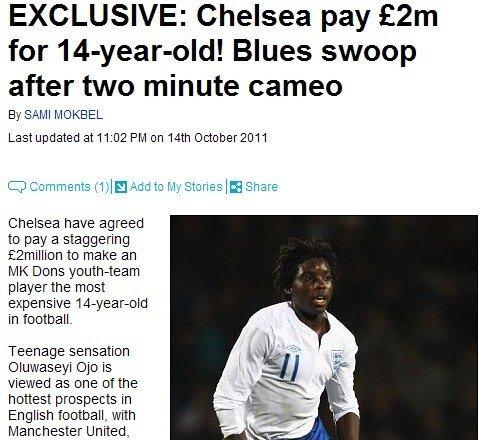 切尔西200万镑天价签妖童 14岁入选英格兰U18