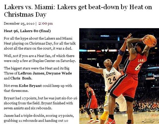 洛杉矶时报:湖人终成失败者 科比不如三巨头