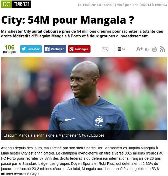 曝曼加拉实际身价5380万 他才是世界最贵后卫