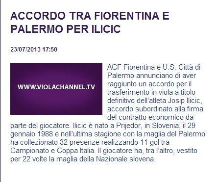 佛罗伦萨官方宣布再签强援 900万购伊利西奇