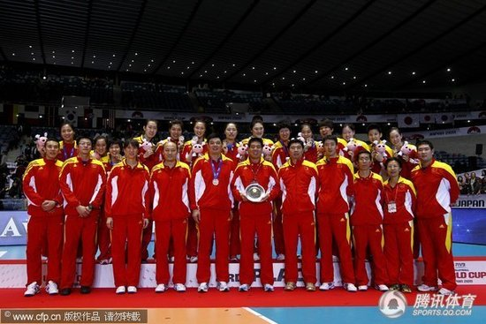 女排世界杯历届前三:中国登领奖台次数最多