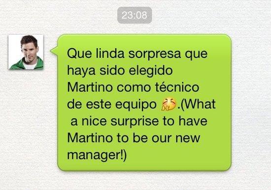 梅西发微信欢迎新帅:马蒂诺上任真是个惊喜