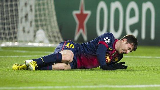检查确认梅西左膝外部撞伤