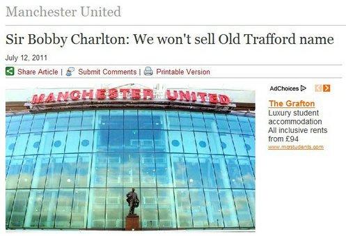 曼联确认永不出售主场冠名权 讽利物浦很丢人