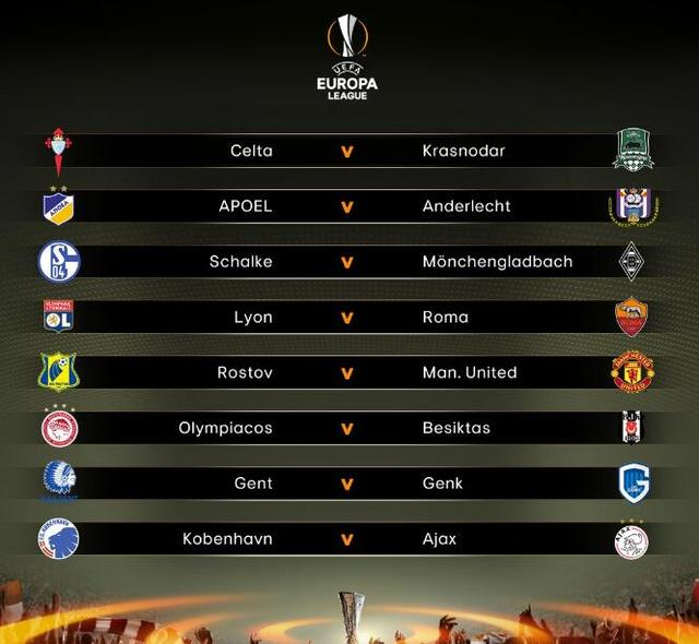 欧联杯1/8抽签-曼联远征 德国内战罗马pk里昂