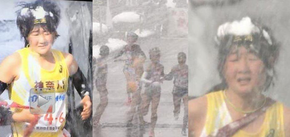 心疼妹子!日本暴风雪中女子接力赛让大家傻眼了