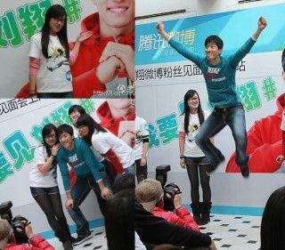 长发女孩与刘翔频频合影 被称最上镜翔粉(图)