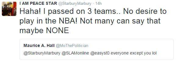马布里:已拒绝NBA三队邀请 没兴趣回去打球