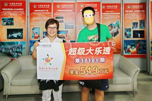 彩民戴面具现身领大奖 2元单式命中549万(图)