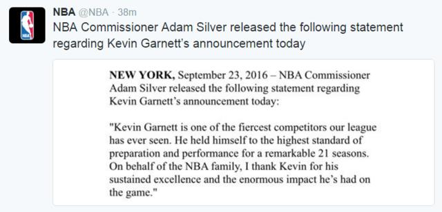 联盟总裁致敬加内特:感谢你对于NBA的影响力