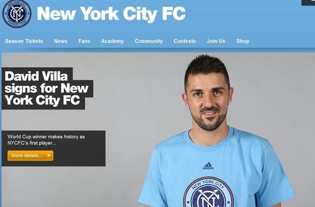 纽约FC宣布签约比利亚 西甲神锋转战美国联赛