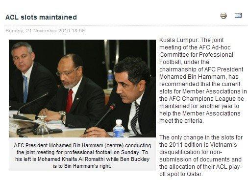亚足联确定2011亚冠名额 中超因反赌保住四席