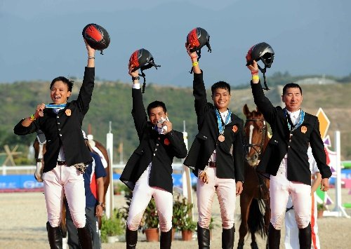 马术三项赛团体角逐,中国马术队获得季军
