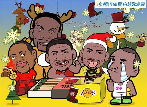 漫画:圣诞大战科比遭恶搞 热火大胜湖人