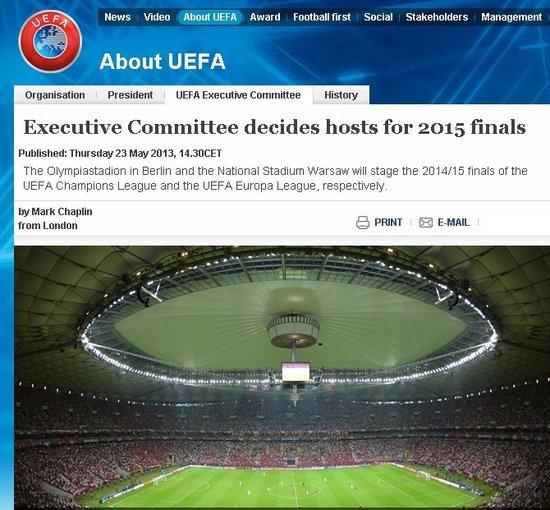 欧足联宣布2015欧冠决赛地 重罚严惩种族主义