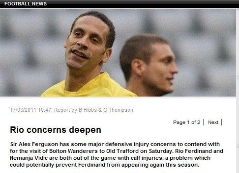 曼联后防4虎同时受伤 费迪南赛季恐提前报销