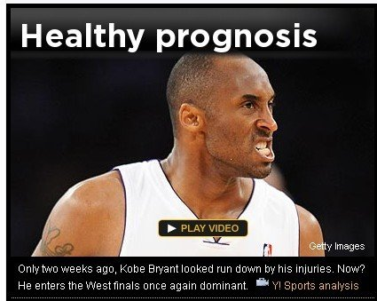 Yahoo:健康科比所向披靡 战太阳必显统治力