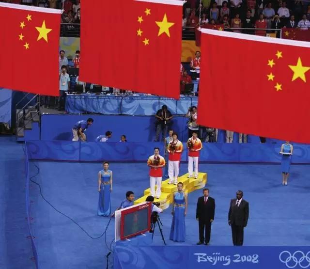 国乒08奥运史 包揽金牌奥运史 颁奖仪式三面五星红旗同时升起 球王直图片