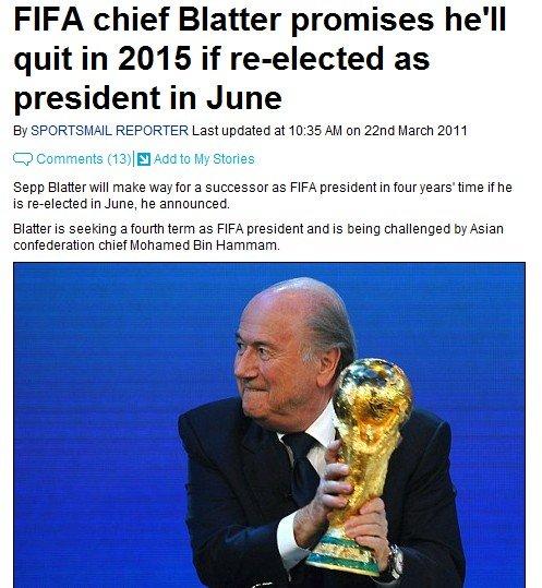 布拉特连任拉拢全欧 暗示2015期满后退出FIFA