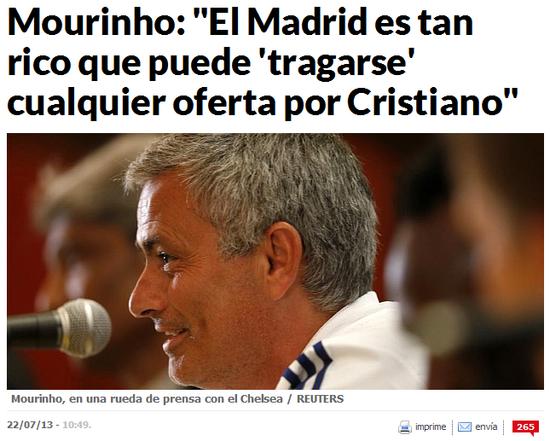 穆里尼奥:C罗深爱曼联 但他仍会同皇马续约
