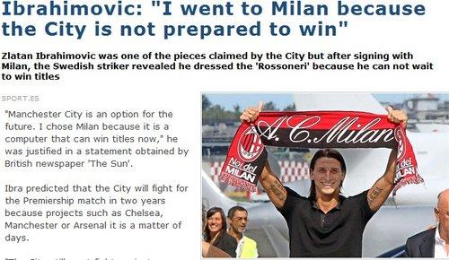 伊布谈为何选择AC米兰 直言曼城2年英超没戏