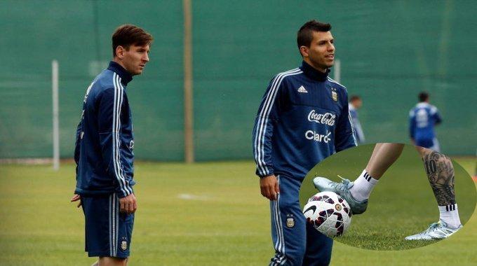 阿根廷轻松备战 梅西左腿纹身霸气曝光