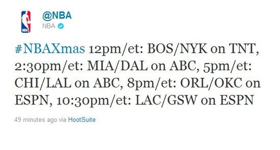 NBA官方确认5场圣诞大战 小牛热火再续恩仇录