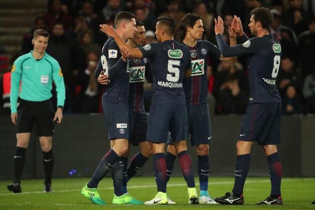 法国杯-巴黎5-0狂胜摩纳哥进决赛 卡瓦尼建功