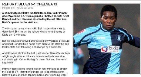 热身赛-切尔西1-5遭英乙队屠杀 妖人4分钟3球