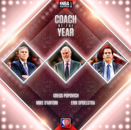 NBA年度颁奖礼候选名单:哈登韦少卡哇伊争MVP
