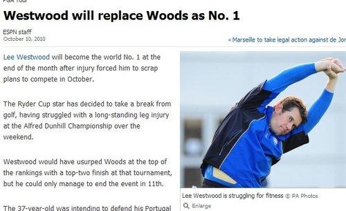 伍兹世界第一宝座不保 维斯特伍德月底将登顶