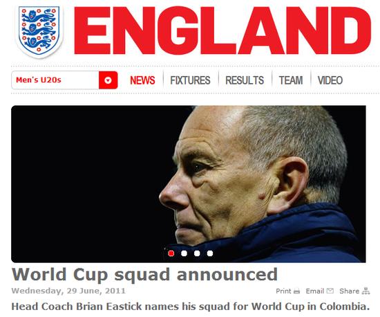 英格兰公布U20世界杯21人大名单 曼联3将入选