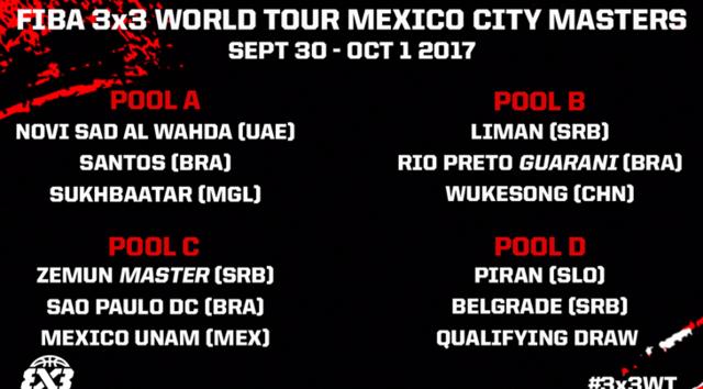 墨西哥3X3大师赛分组出炉 成都冠军皮兰参战