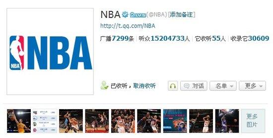 NBA官博开立满一年 1500万听众畅游网络主场