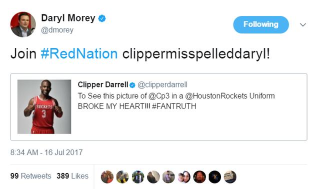 莫雷劝快船球迷改蜜火箭 科比关注《权利的游戏》