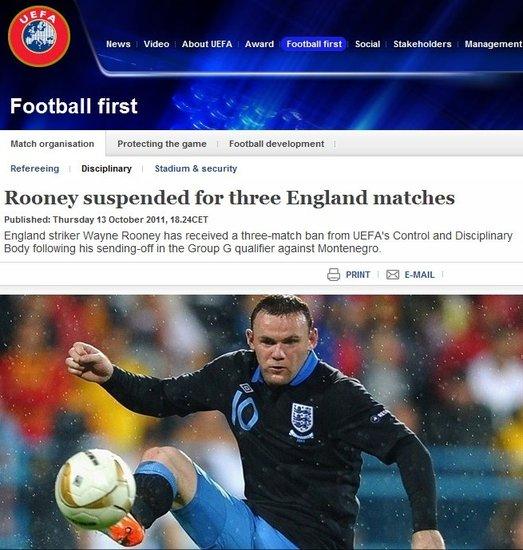官方宣布鲁尼禁三场 英王牌错过欧锦赛小组赛