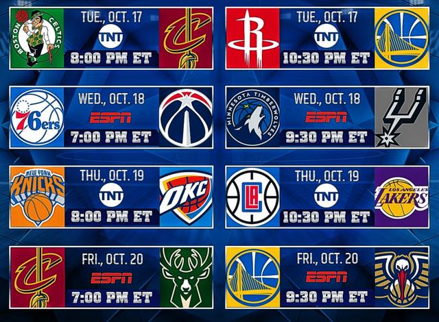 NBA新赛季揭幕战公布:绿军vs骑士 火箭vs勇士