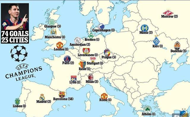 梅西欧冠74球全纪录  足坛拿破仑征服欧洲23城