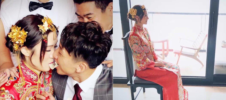 高迪晒婚纱照拥吻爱妻 新娘唐装显贵气图片