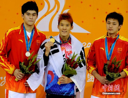 朴泰桓力压孙杨、张琳获得亚运男子400米自由泳冠军