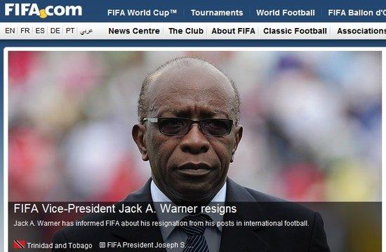 国际足联副主席沃纳辞职 哈曼同党率先遭清洗