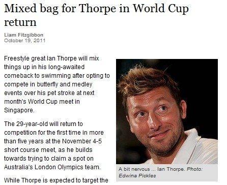 索普复出积极备战新加坡赛 瞄准伦敦奥运门票