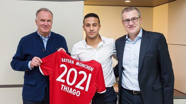 拜仁官方宣布续约蒂亚戈 年薪960万欧元签4年
