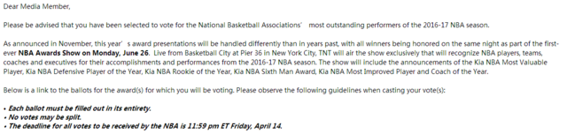 腾讯体育获NBA常规赛奖项投票权 我们想听你的建议 - 号737337 - 御彩轩群