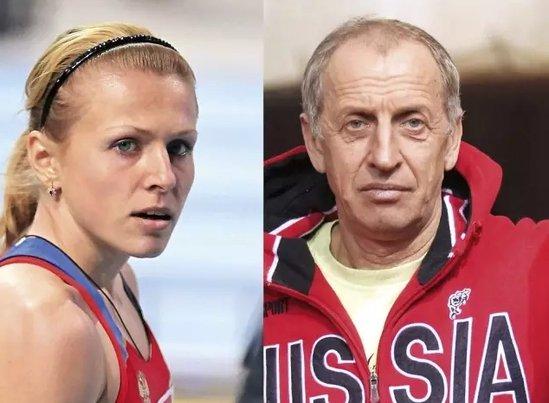 俄罗斯田径运动员尤莉娅·斯捷潘诺娃(左)与田径联合会教练莫科涅夫